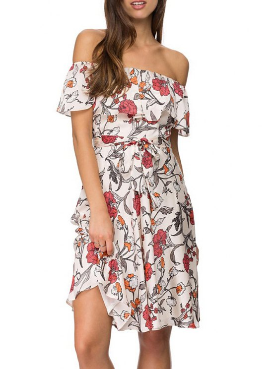 fashion Off-The-Shoulder Floral Chiffon Dress - WHITE S