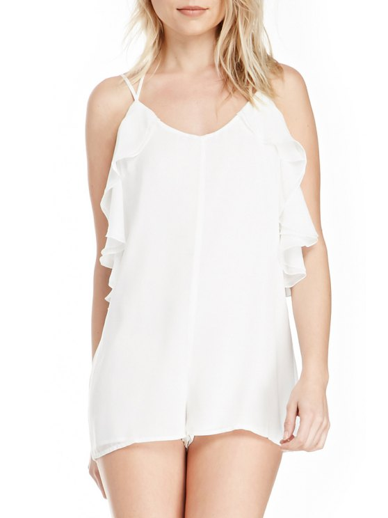 new Lace-Up Flouncing Chiffon Romper - WHITE S