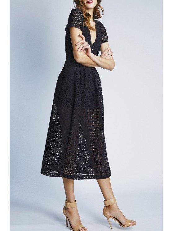 unique See-Through High Split Short Sleeve Dress - BLACK S