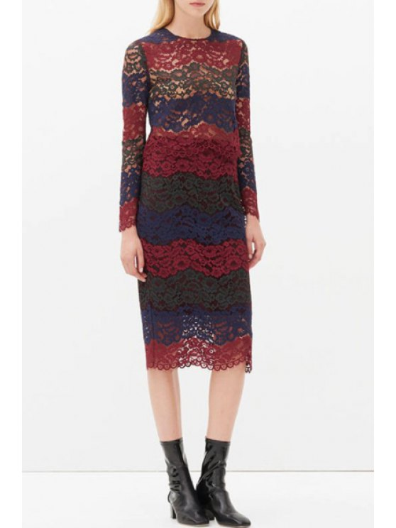 affordable Color Block Lace Long Sleeve Blouse + Skirt - RED WITH BLACK S