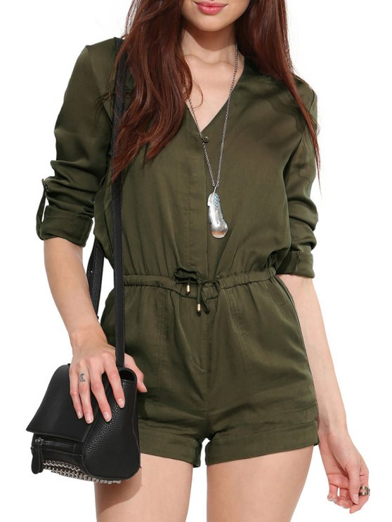 affordable V-Neck Drawstring Army Green Playsuit - ARMY GREEN S