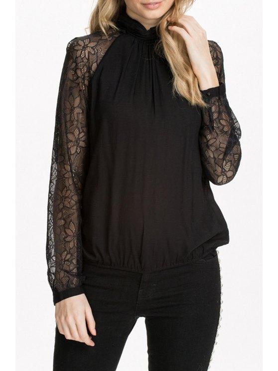 womens Long Sleeve Lace Spliced Black Blouse - BLACK S