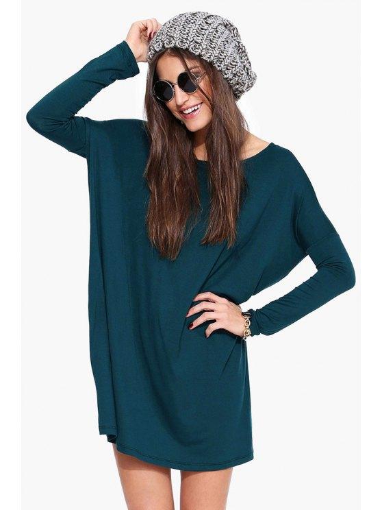 women Boat Neck Loose Fitting Dress - BLUE 2XL