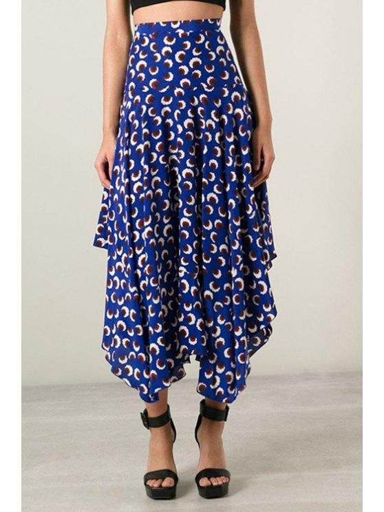 women's Asymmetrical Floral Printed Skirt - BLUE S