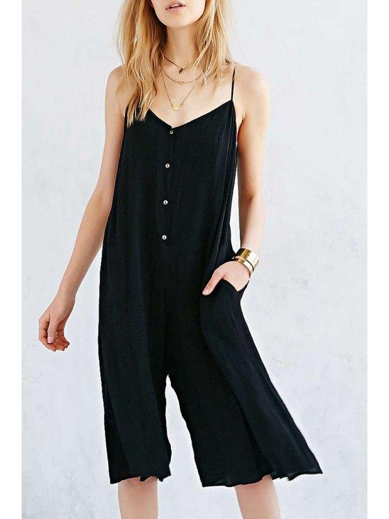 outfits Button Pocket Design Wide Leg Jumpsuit - BLACK S
