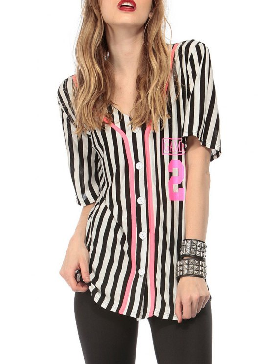 hot Short Sleeve Single-Breasted Striped Shirt - WHITE AND BLACK S