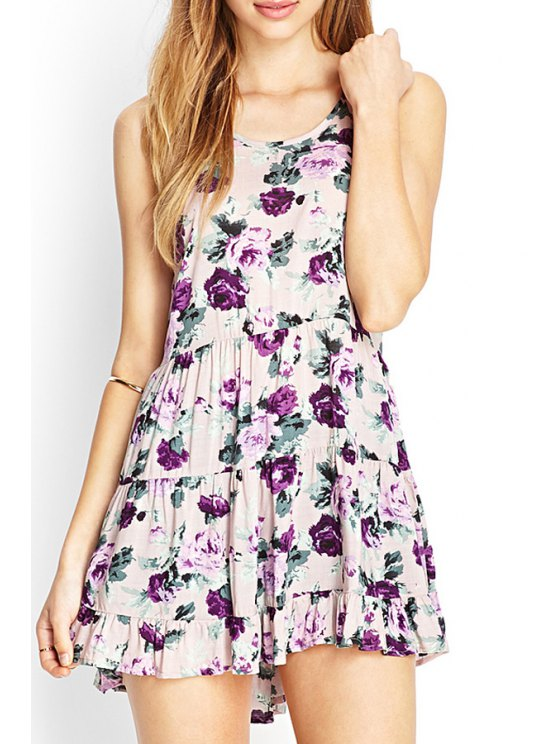 new Spaghetti Strap Crisscross Back Floral Dress - PINK S