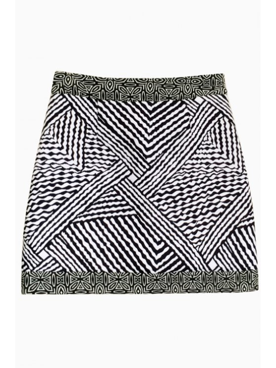 unique Black White Stripe Skirt - WHITE AND BLACK ONE SIZE(FIT SIZE XS TO M)