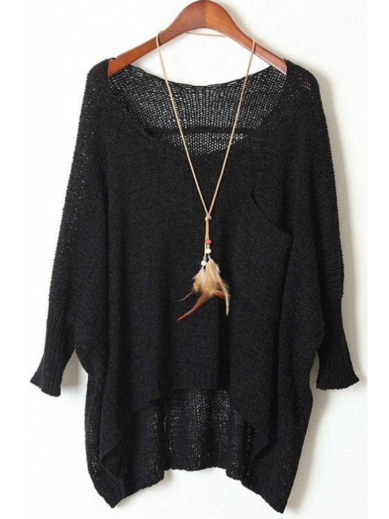 Abrigo de cuello redondo con cuello redondo - Negro Un tamaño(Montar tam
