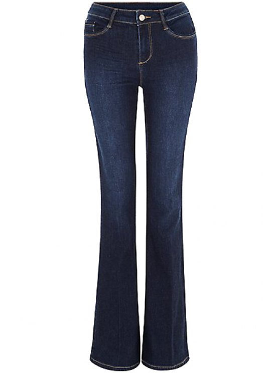 new Blue Faded Flared Jeans - DEEP BLUE S
