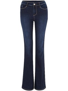 Blue Faded Flared Jeans - Deep Blue M