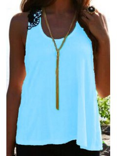 Lace Spliced Crochet Flower Hollow Out Tank Top - Blue S