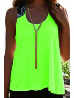 Lace Spliced Crochet Flower Hollow Out Tank Top - Neon Green Xl