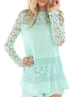 Crochet Flower Spliced Long Sleeves Blouse - Green M
