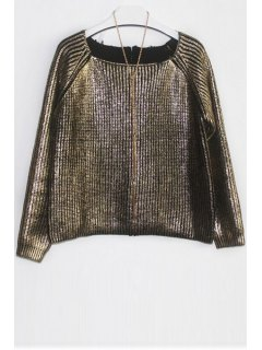 Loose-Fitting Knitted Sparkle And Glitter Sweater - Golden