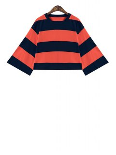 Wide Sleeve Color Block Striped Crop Top - Jacinth