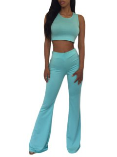 Sleeveless Crop Top And Solid Color Flare Pants Suit - Green L