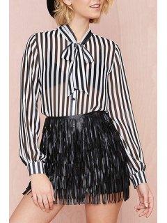 Bow Tie Collar See-Through Stripe Shirt - White And Black 2xl