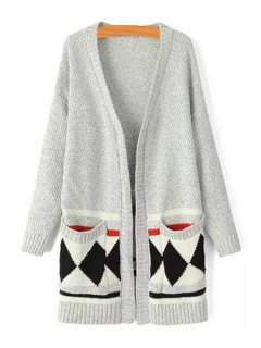 Argyle Pattern V Neck Long Sleeve Cardigan - Gray