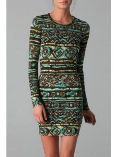 Jewel Neck Abstract Print Long Sleeve Dress - L