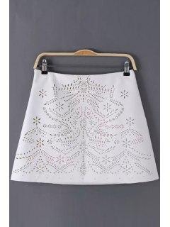 Floral Pattern Openwork Zipper Fly Skirt - White L