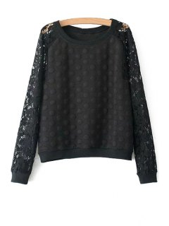 Polka Dot Lace Long Sleeve Sweatshirt - Black L