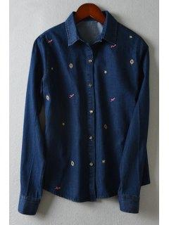 Embroidery Shirt Neck Long Sleeve Shirt - Deep Blue M