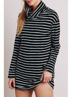 Turtle Neck White Black Stripe Long Sleeve Dress - White And Black Xl