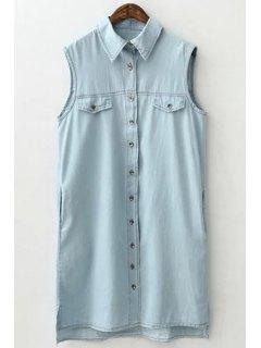 Light Blue Shirt Neck Sleeveless Dress - Light Blue M