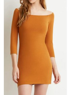 Slash Neck Solid Color 3/4 Sleeve Dress - Orange M