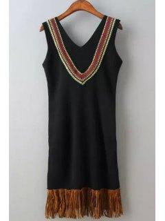 V Neck Tassel Splicing Embroidery Sleeveless Dress - Black