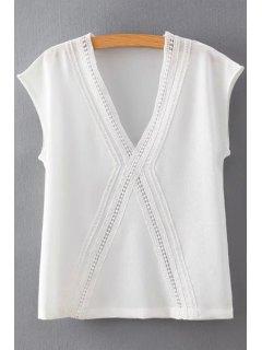 White Chiffon Plunging Neck Short Sleeve Blouse - White M