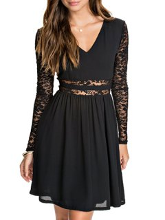 Lace Spliced V Neck Long Sleeve Dress - Black S
