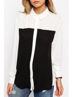 Long Sleeve Color Block Chiffon Shirt - White L
