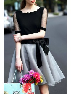 Lace Spliced Short Sleeve T-Shirt And Voile Skirt Suit - Black And Grey S