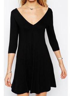 V Neck Backless Solid Color 3/4 Sleeve Dress - Black S