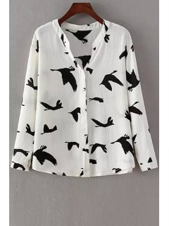 Long Sleeve Red-Crowned Crane Print Shirt - White L