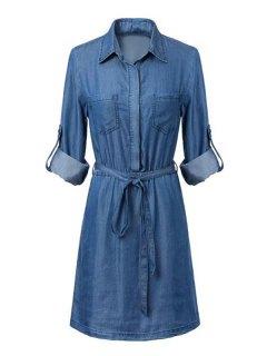 Blue Denim Shirt Neck Long Sleeve Dress - Blue M