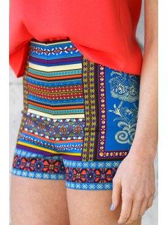 Colorful Floral Stripe Print Shorts - L