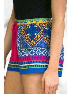 Color Block Plaid Print Shorts - M