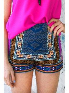 Printed Color Block Shorts - Xl