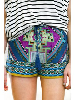 Color Block Abstract Print Shorts - L