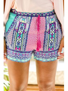 Tie-Up Colorful Print Shorts - Xl
