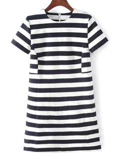 Stripes Round Neck Short Sleeve Dress - White And Black S