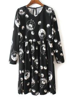 V Neck White Floral Print Long Sleeve Dress - Black Xl