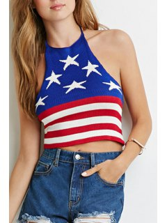 Halter American Flag Knitted Crop Top - Blue And Red Xl