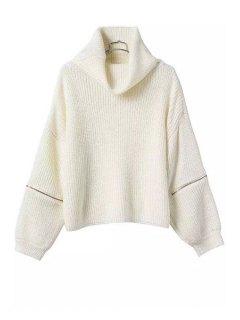 Turtle Neck Zipper Embellished Long Sleeve Sweater - White