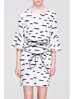 Bell Sleeve Printed Lace-Up Dress - White And Black M