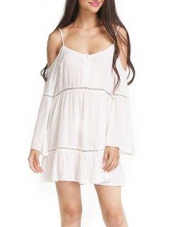 White Cami Long Sleeve A Line Dress - White L