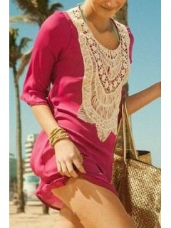 Crochet Spliced 3/4 Sleeve Cover Up - Peach Red